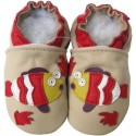 Chaussons en cuir poissons