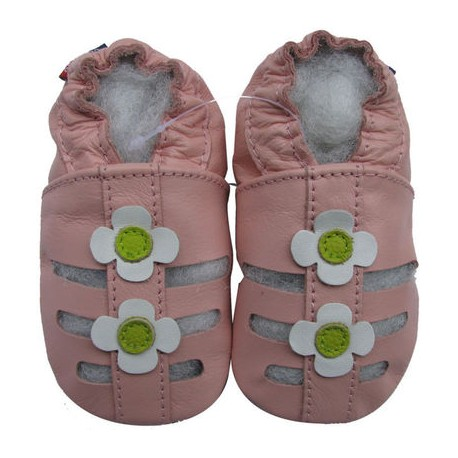 Chaussons en cuir ouverts roses