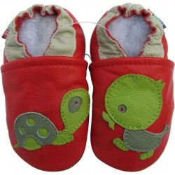 Chaussons en cuir Tortue Canard fond Rouge