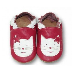 Chaussons en cuir Chat fond Rose