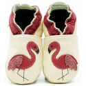 Chaussons en cuir Flamants roses
